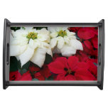 White and Red Poinsettias II Christmas Holiday Serving Tray