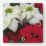 White and Red Poinsettias II Christmas Holiday Square Wall Clock