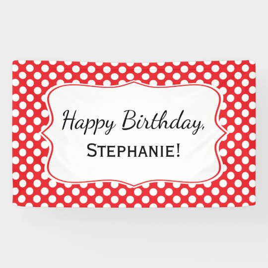 White And Red Polka Dot Birthday Banner