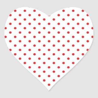 White and Red Polka Dot Heart Sticker