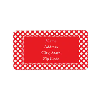 White and Red Polka Dot Label