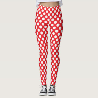 White and Red Polka Dot Leggings