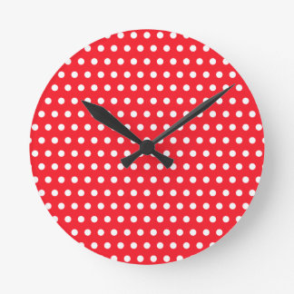 White and Red Polka Dot Pattern. Spotty. Round Wallclock