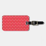 White and Red Polka Dot Pattern. Spotty. Luggage Tags