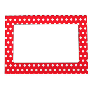 White and Red Polka Dot Pattern. Spotty. Frame Magnets