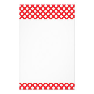 White and Red Polka Dot Customized Stationery
