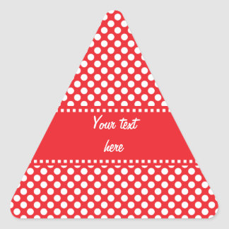 White and Red Polka Dot Triangle Sticker