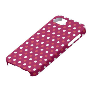 White and Red Polka Dots on Maroon iPhone 5 Cover