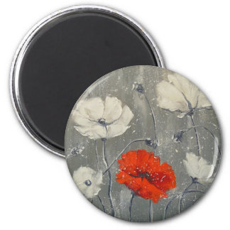 White and red poppies magnet