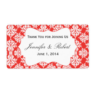 White and Red Poppy Damask Water Bottle Label