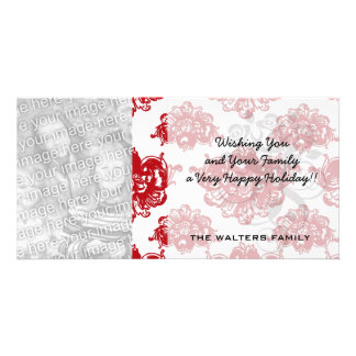 white and red romance damask pattern photo card template