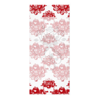 white and red romance damask pattern rack cards