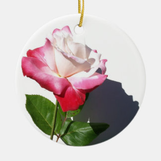 White and Red Rose Christmas Tree Ornament