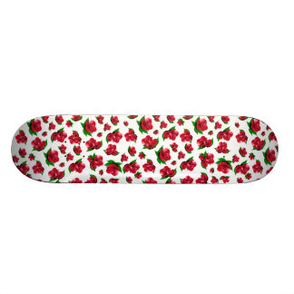 White and Red Rose Pattern Girly Girl skateboard