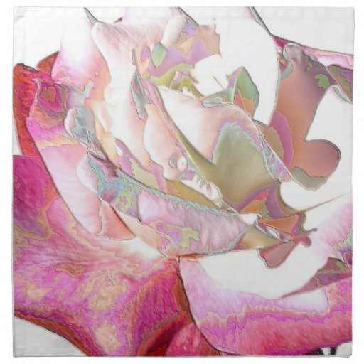 White and Red Rose Printed Napkin