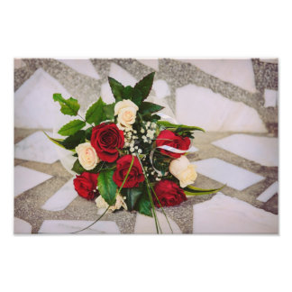 White and red roses bouquet photo print