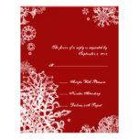 White and Red Snowflakes Wedding RSVP 3 Custom Invite