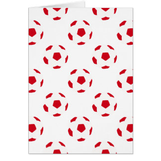 White and Red Soccer Ball Pattern Card