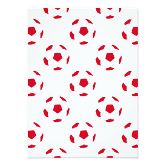 "White and Red Soccer Ball Pattern 5.5"" X 7.5"" Invitation Card"