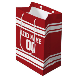 White and Red Sports Jersey Custom Name Number Medium Gift Bag