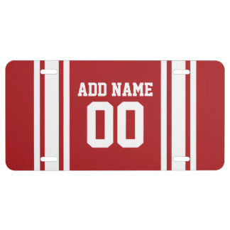 White and Red Sports Jersey Custom Name Number License Plate
