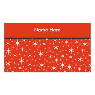 White and Red Star Pattern. Business Card Template