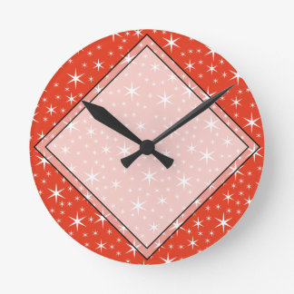 White and Red Star Pattern. Clock