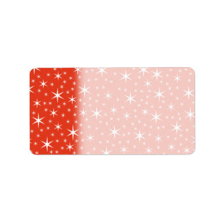 White and Red Star Pattern. Custom Address Labels