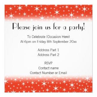White and Red Star Pattern. Custom Invite