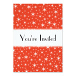 White and Red Star Pattern. 5x7 Paper Invitation Card
