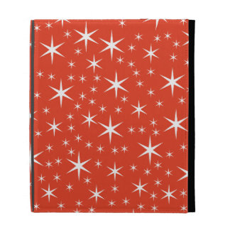 White and Red Star Pattern. iPad Folio Cover