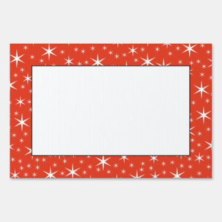 White and Red Star Pattern. Lawn Sign