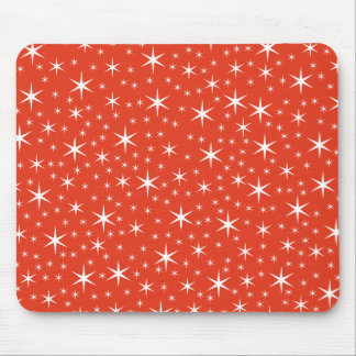 White and Red Star Pattern. Mouse Pad