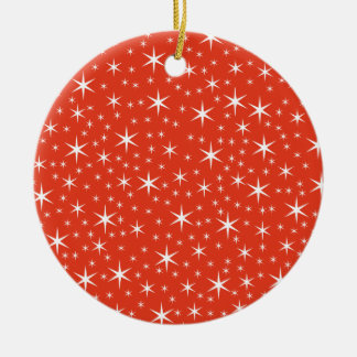 White and Red Star Pattern. Christmas Tree Ornaments