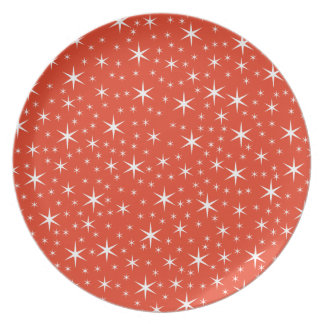 White and Red Star Pattern. Party Plates