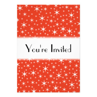 White and Red Star Pattern. Personalized Invite