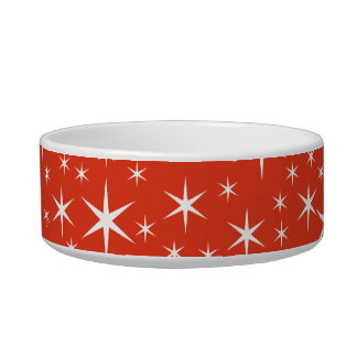 White and Red Star Pattern. Pet Water Bowl