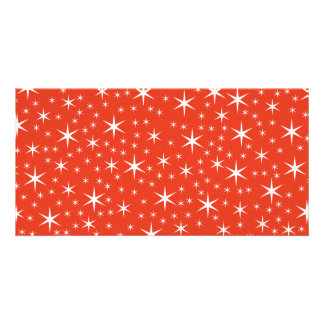 White and Red Star Pattern. Picture Card