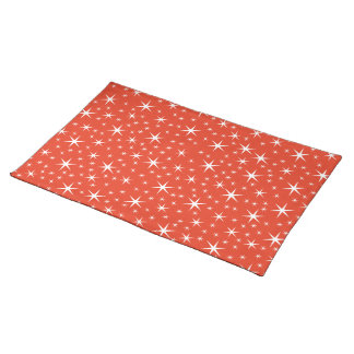 White and Red Star Pattern. Place Mat