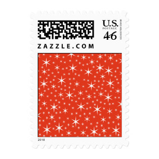 White and Red Star Pattern. Postage Stamps