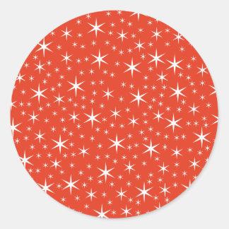 White and Red Star Pattern. Round Sticker
