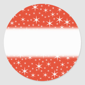 White and Red Star Pattern. Round Stickers