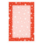 White and Red Star Pattern. Personalized Stationery