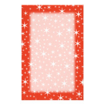 White and Red Star Pattern. Stationery