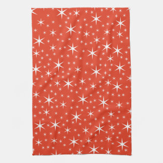 White and Red Star Pattern. Towels