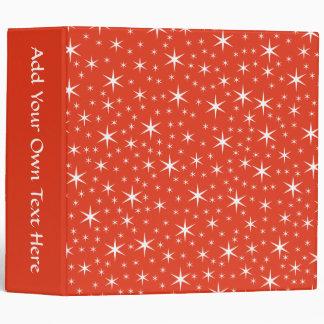White and Red Star Pattern. Vinyl Binder