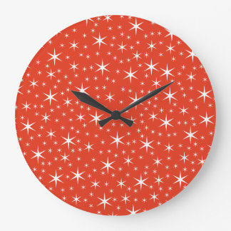 White and Red Star Pattern. Wall Clock
