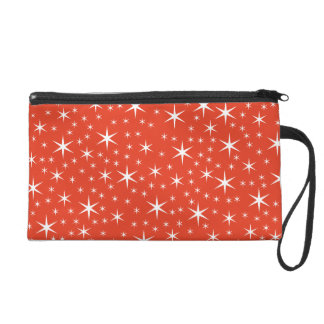 White and Red Star Pattern. Wristlet Clutch