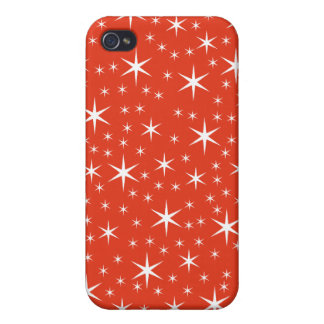 White and Red Star Pern. Cases For iPhone 4