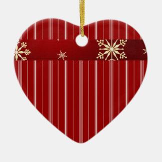 White and Red Striped Ceramic Ornament